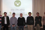 Da esquerda para a direita:  Miguel Laginha (gestão TICE.Mobilidade), Gouveia Leal (coordenador Projetos TICE), Gustavo Felisberto (1º classificado), Sérgio Santos (3º classificado), Filipe Santos (2º classificado), Carlos Bento (UC) e António Cunha (IPN).