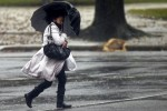 A woman protects herself under her umbrella due to the windy weather in Porto, Portugal, 24 December 2013. The National Authority for Civil Protection emitted a yellow alert for all districts of Portugal between 8 AM of today and 8 PM of Christmas Day due to strong rain and wind.  JOSÉ COELHO/LUSA