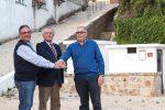 Na foto Jaime Ramos, Jose Filipe e António Teodoro (actuais presidente e tesoureiro da união de freguesias ) afirmam acordo de cooperação no Largo da Fonte na Palheira.