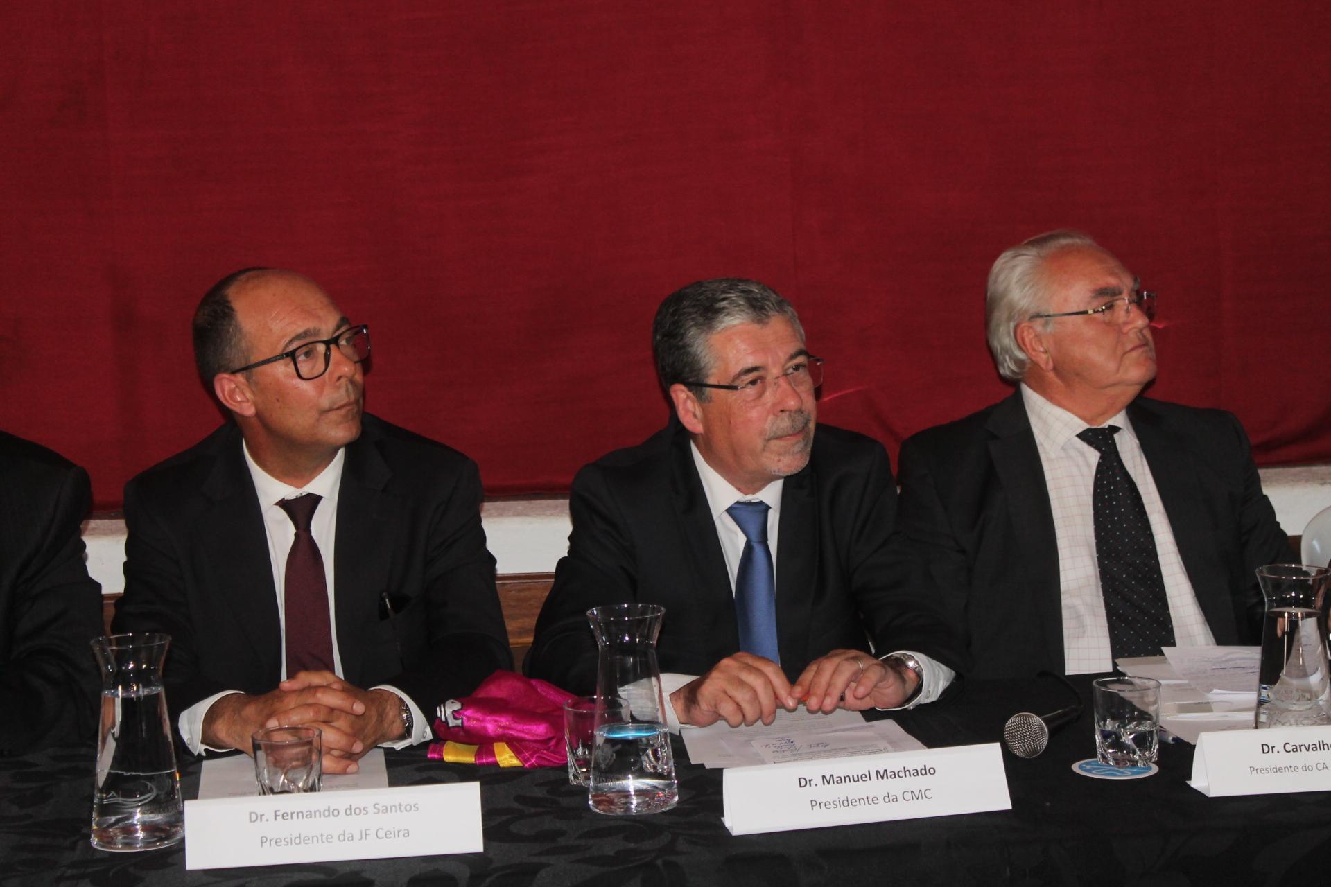 Fernando Cardoso - Presidente da Junta d Fregeusia de Ceira, Manuel Machado - Presindete da Câmara e Carvalho Santos - Presidente da AC