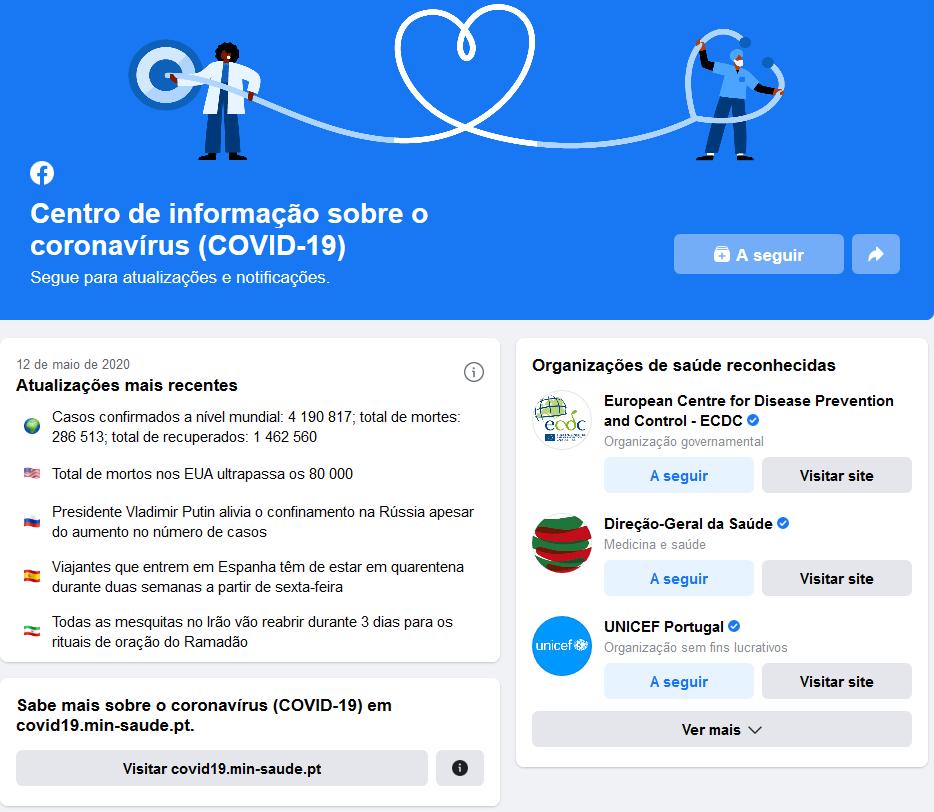 Centro de informações do Facebook sobre a covid-19